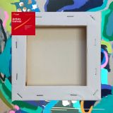 "Box of 20 8x8"" Thick Frame Cotton Artvalli Stretched Blank Canvas"