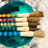 Emerald Green Hues Round Traditional Chinese Calligraphy Paintbrush with Shaped Head