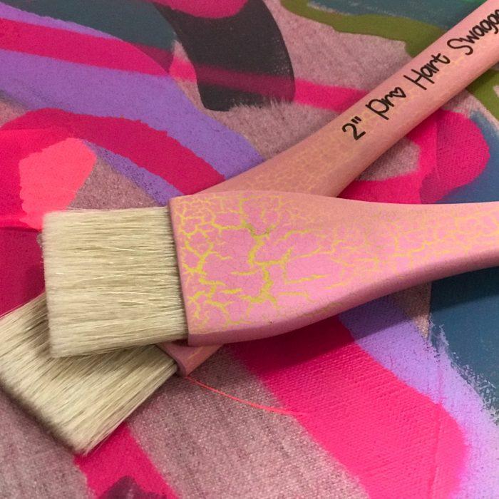 "Pro Hart Swagger 2"" Hog Bristle Paintbrush on Titian Linen Canvas"