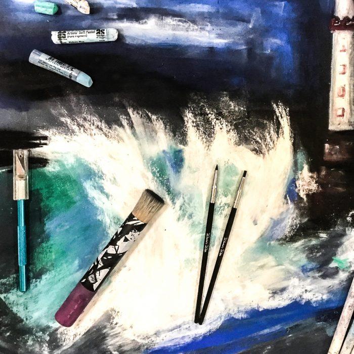 Pro Hart Stipple Brush with Art Spectrum Soft Pastels