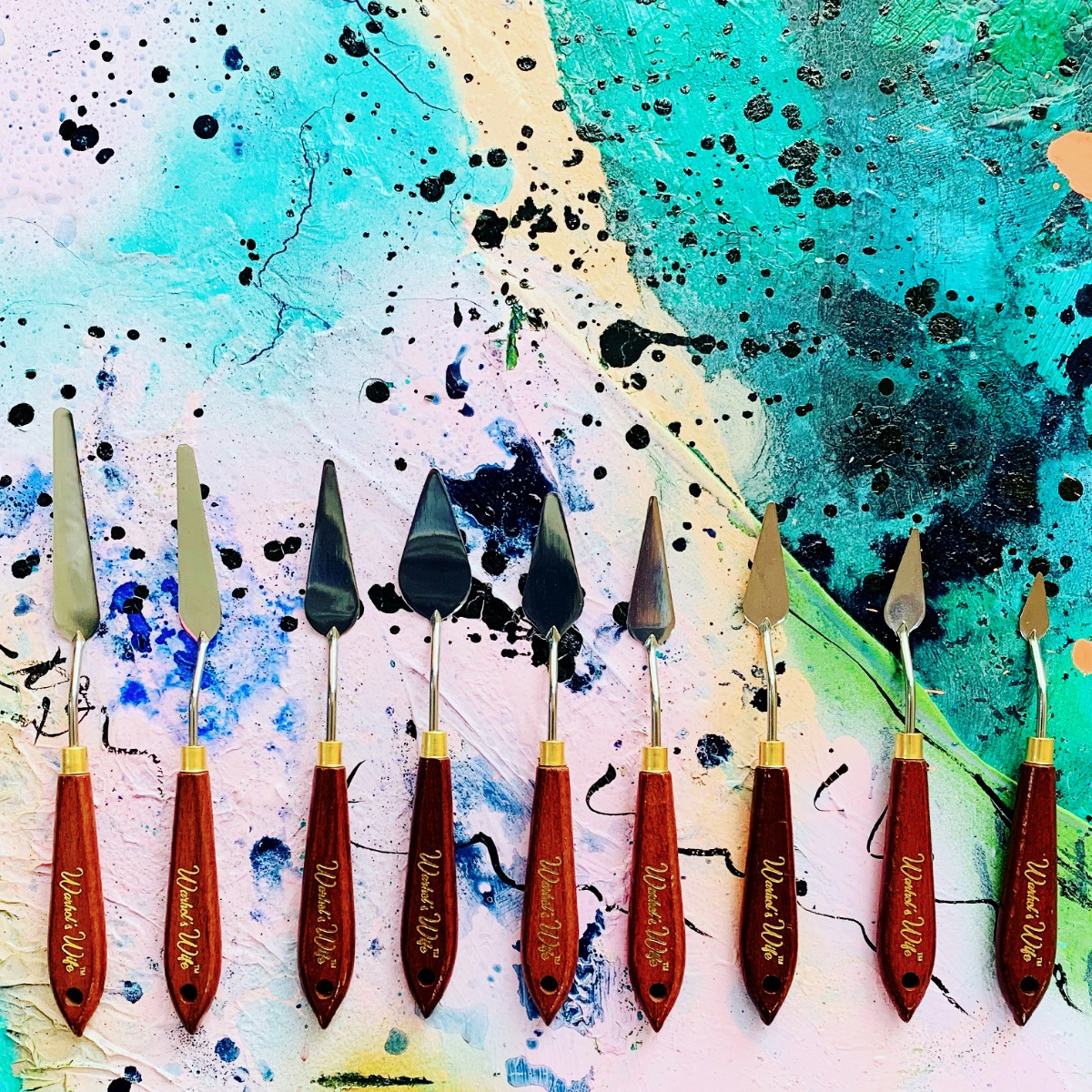 Warhol's Wife Palette Knives on Abstract Painting